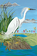 White House Mixed Media - Ode to Audubon - Snowy Egret by Jennifer  Peck