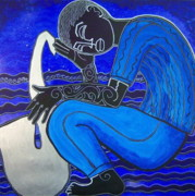 African-american Paintings - Ode To The Big Sea by Perrion Hurd
