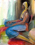 Dark Skin Pastels Framed Prints - Odelisque 2 Framed Print by Gabrielle Wilson-Sealy
