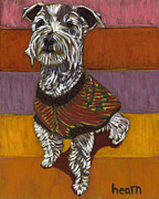Pet Portraits Paintings - Odie Goes to Market by David  Hearn