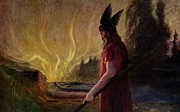 Scandinavian Paintings - Odin leaves as the flames rise by H Hendrich