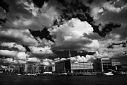 Tall Ships Prints - odyssey building titanic quarter apartments and river lagan during the tall ships visit to Belfast Print by Joe Fox