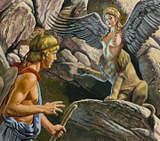 Hawk Paintings - Oedipus encountering the Sphinx by Roger Payne