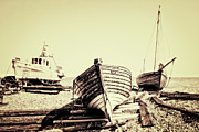 Wooden Boat Prints - Of Different Eras Print by Meirion Matthias