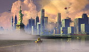 New York Harbor Prints - Of Stone and Steel Print by Dieter Carlton