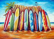 Surfing Painting Framed Prints - Off-Shore Framed Print by Deb Broughton