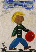 Little Boy Prints - Off to Play Ball Print by Mary Carol Williams