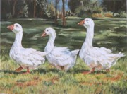 Ducks Paintings - Off To The Pond by Cheryl Pass