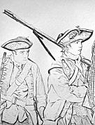 Revolutionary War Digital Art Prints - Off to War Soldier Sketch Print by Randy Steele