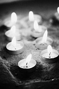 Flame Light Prints - Offering Candles Burning In A Church Print by Joe Fox