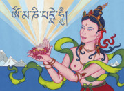 Tibetan Art Paintings - Offering Goddess with mantra Om Mani Padme Hum by Carmen Mensink