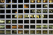 Financial  District Prints - Office Building At Night Print by Lars Ruecker