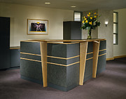 Desk Posters - Office Building Reception Desk Poster by Robert Pisano