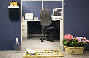 Office Desk Framed Prints - Office Cubicle Framed Print by Andersen Ross