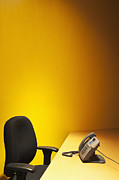 Office Chair Prints - Office Desk, Phone, and Chair Print by Jetta Productions, Inc