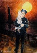 Police Pastels Metal Prints - Officer Daddy Metal Print by Larry Whitler