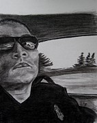 Police Drawings - Officer Henry On Patrol by Joan Pye