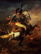 Uniformed Paintings - Officer of the Hussars by Theodore Gericault