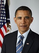 Barack Obama Posters - Official Portrait Of President Barack Poster by Everett