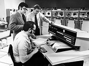 Console Posters - Officials At The Main Console Of Univac Poster by Everett