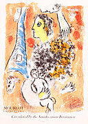 Mourlot Paintings - Offrande a La Tour Eiffel by Marc Chagall