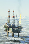 Oil Drilling Framed Prints - Offshore Oil Wells, Alaska Framed Print by Joseph Rychetnik