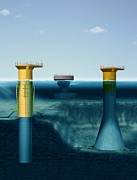Farm Structure Posters - Offshore Wind Farm Foundations, Artwork Poster by Claus Lunau