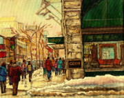 Snowfall Paintings - Ogilvys Department Store Downtown Montreal by Carole Spandau