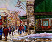 Catherine Window Prints - Ogilvys Department Store Rue St. Catherine Downtown Montreal City Street Scene  Print by Carole Spandau