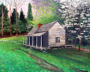 Log Cabins Art - Ogle Homestead Gatlinburg Tn by Herb Dickinson