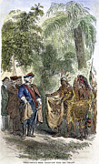 1733 Posters - Oglethorpe & Native Americans Poster by Granger