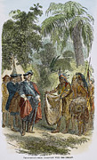 1733 Posters - Oglethorpe With Native Americans Poster by Granger