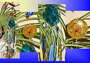 Metal Glass Art - Ogone Generating Blue Glass Crystal Wind Chime by Karen Martel