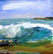 Scott Nelson And Son Painting Posters - Ogunquit Beach Wave Poster by Scott Nelson