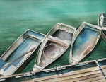 Maine Artist Paintings - Ogunquit Maine Skiffs by Brenda Owen
