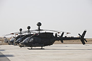 Attack Helicopters Framed Prints - Oh-58d Kiowa Helicopters On The Flight Framed Print by Terry Moore