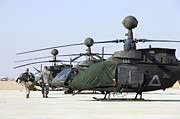 Covering Prints - Oh-58d Kiowa Warrior Helicopters Parked Print by Terry Moore