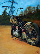 Motorcycle Painting Posters - Oh Hell Yea Poster by George Frizzell