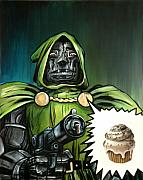 Sweets Painting Acrylic Prints - Oh No Not Again - Dr Doom Acrylic Print by Ryan Jones