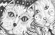 Cats Drawings Originals - Oh Purr... by Helena Tiainen