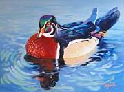Oh So Blue - Wood Duck  Print by Carol Reynolds