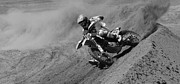 Motorcycle Racing Framed Prints - Oh What A Feeling Monochrome Framed Print by Bob Christopher