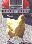 Featured Art - Oh why did the chicken cross the road by Catherine G McElroy