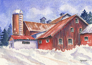 Building Painting Originals - Ohio Barn by Marsha Elliott