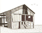 Old Barn Pen And Ink Framed Prints - Ohio Barn Framed Print by Pat Price