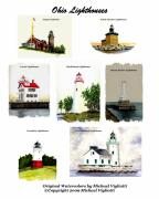Lighthouse Drawings Framed Prints - Ohio Lighthouses Collage Framed Print by Michael Vigliotti