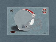 State Paintings - Ohio State Buckeyes Football Helmet by Herb Strobino