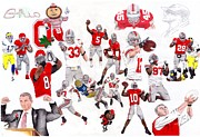 Ohio State University Prints - Ohio State Collage Print by Gerard  Schneider Jr