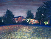 Street Pastels Originals - Ohlone Night by Patrick Marquis