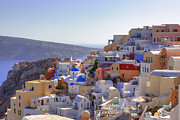 Panoramic Metal Prints - Oia - Santorini Metal Print by Joana Kruse
